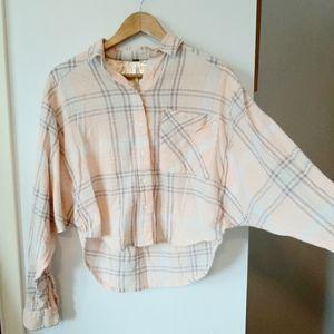 free people cutie crop batwing plaid shirt
